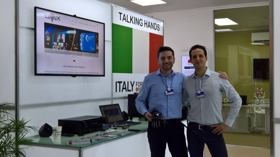 Francesco Pezzuoli (a sinistra) e Dario Corona al Global Teacher Prize, Dubai, 2017